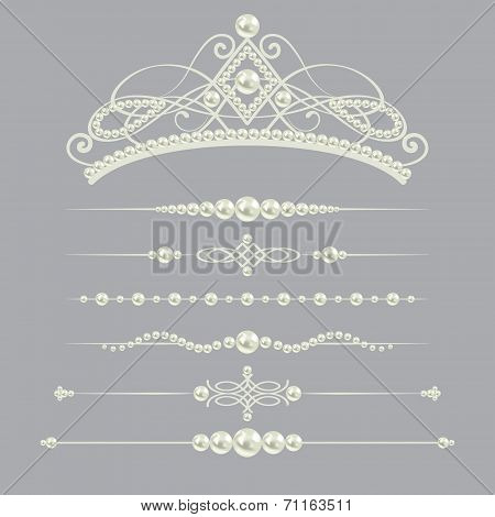 white realistic pearl dividers set collection with diadem isolated on grey background.