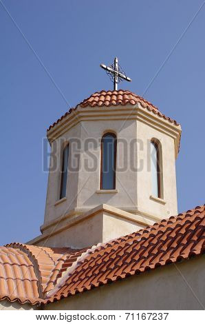 Dome Of Church In Orthodox Monastery Codru Near Babadag, Romania