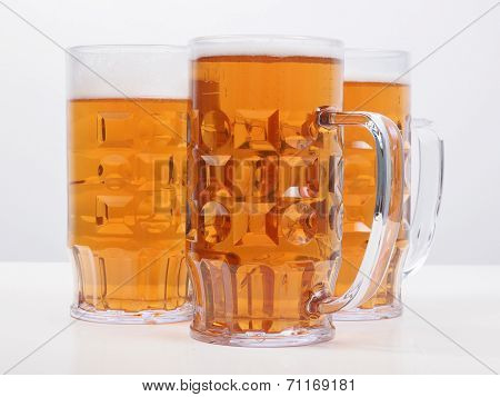 Many large glasses of German lager beer poster
