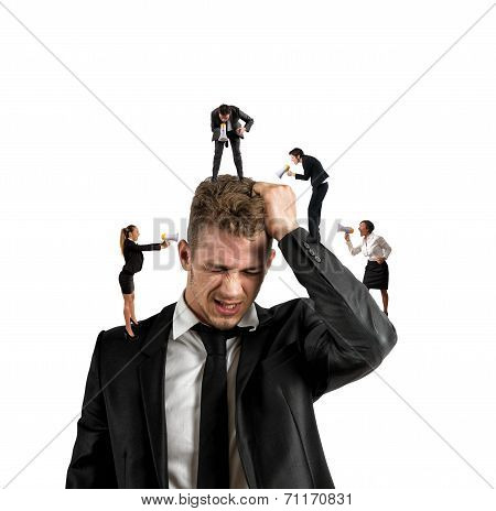 Concept of stress at work with small people shouting with megaphone poster
