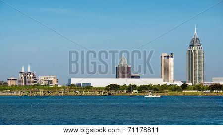 Mobile, Alabama, Skyline On Mobile Bay