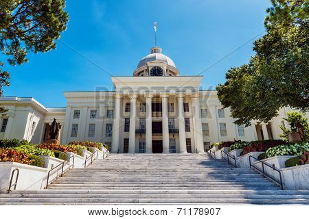 Front View Of State Capitol In Montgomery, Alabama