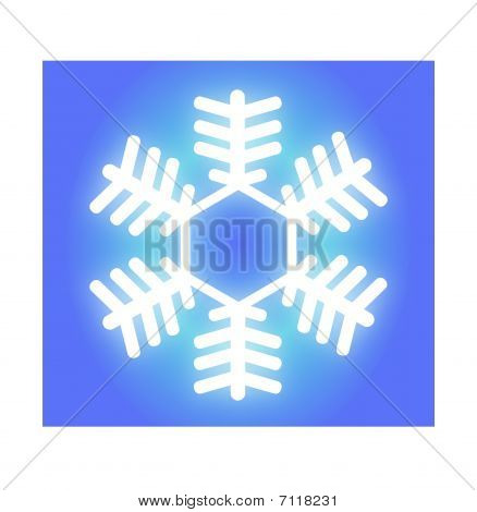 Glowing White Snowflake On Blue Gradient Background