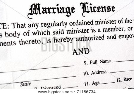 Closeup of Marriage License document form to be filled out and filed