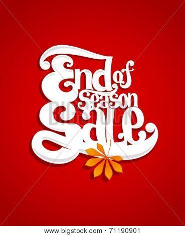 End of season sale typography illustration.