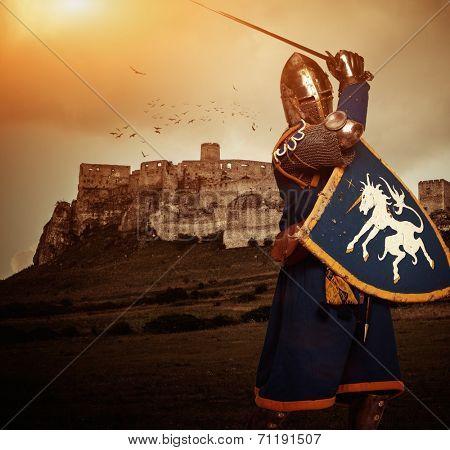 Medieval knight against Spis castle, Slovakia