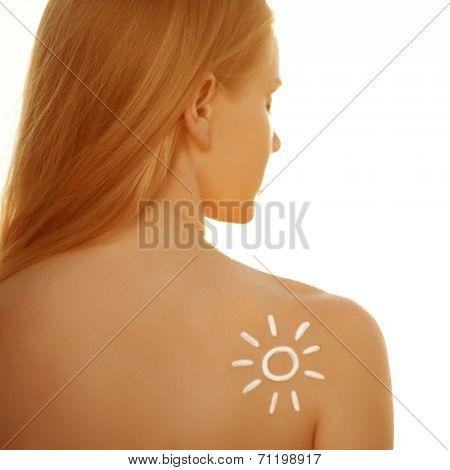 Suntan lotion cream. Woman care skin. Girl applying sunscreen solar cream. Sexy lady applying Sun Tan Cream. Tan, vacation, beach. Protection skin.