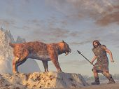 A caveman meeting a saber tooth tiger poster