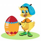 The chicken egg dye for Easter in vector format poster