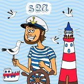 Nautical background of a captain at the wheel of his sailboat cruising the sea with a seagull perched on hid hand and a lighthouse behind  cartoon  vector illustration poster