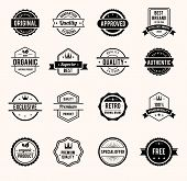 Vector Black and White Retro Stamps and Badges Isolated on White Background poster