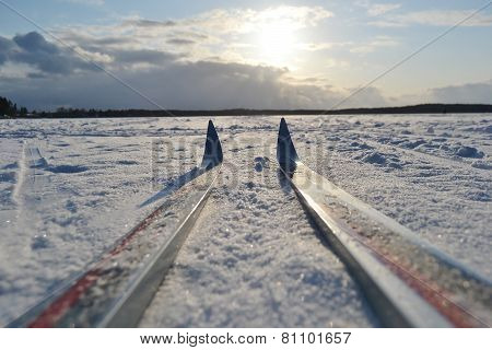 Cross-country Skiing On Frozen Lake At Sunny Winter Day.