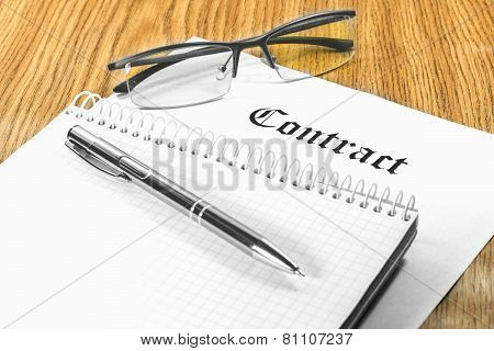contract business papers pen glasses business case poster