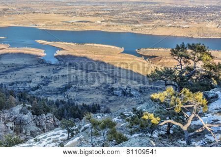 Lory State Park and Horsetooth Reservoir view from Arthur's Rock, a popular hiking trail in Fort Collins, Colorado