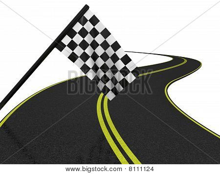 Finishing Checkered Flag And Road. 3D