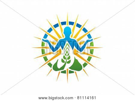 meditation yoga logo wellness symbol fitness health zen icon