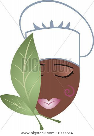 African American passionate woman chef cooking herbs