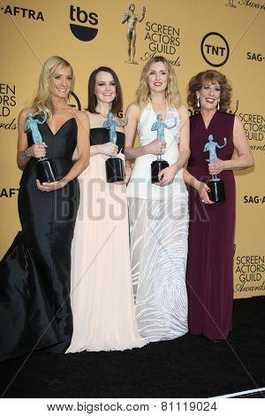 LOS ANGELES - JAN 25:  Joanne Froggatt, Sophie McShera, Laura Carmichael, Phyllis Logan at the 2015 Screen Actor Guild Awards at the Shrine Auditorium on January 25, 2015 in Los Angeles, CA