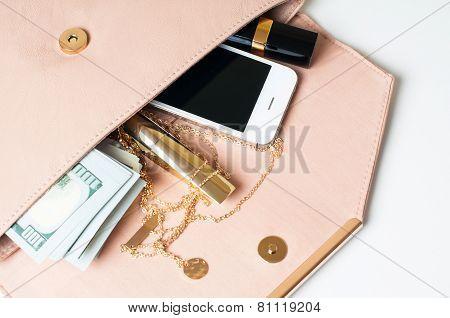 Beige Woman's Clutch Handbag