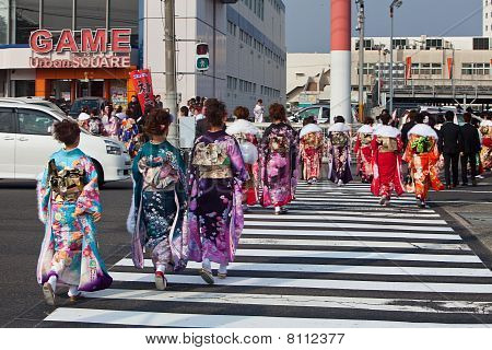 Young women in kimono at Coming Of Age Day In Japan