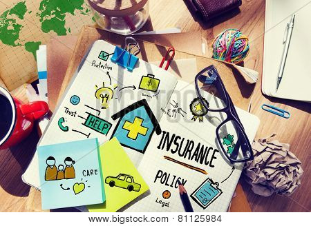 Insurance Policy Management Contemporary Drawing Concept