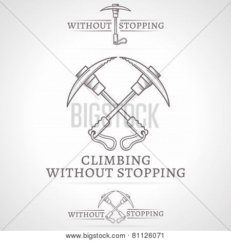 Vector illustration of crossed ice axes icon with text