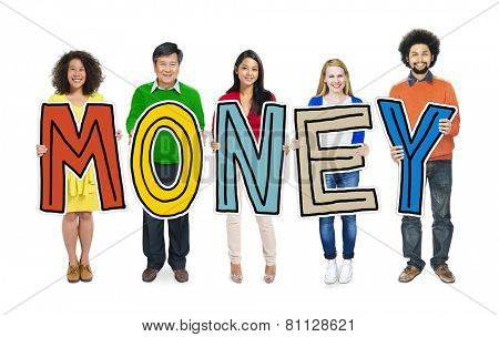 Group of People Standing Holding Money