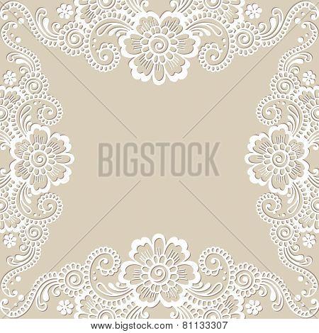 White flower frame, lace ornament. Vector illustration.