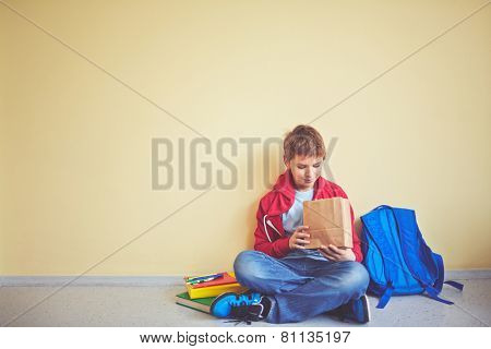 Cute schoolboy looking into package with his lunch while sitting on the floor