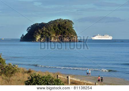 Cruise Ship Enters Port Of Tauronga New Zealand