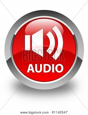 Audio Glossy Red Round Button