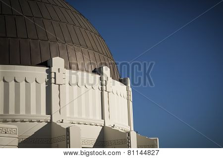 LOS ANGELES, CALIFORNIA - January 24, 2015: Exterior Architecture of the Griffith Observatory Dome.