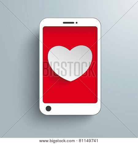 White Smartphone With Heart