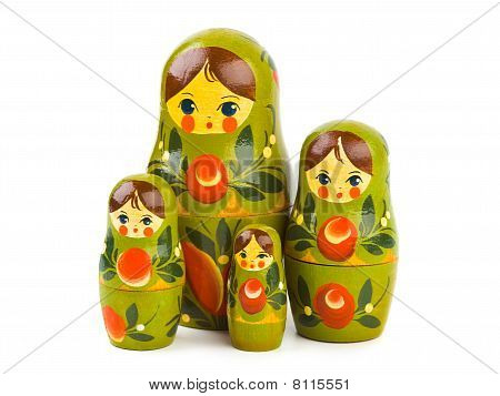 Russian toy matrioska isolated on white background poster