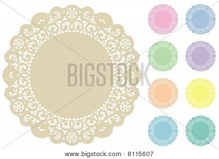 Lace Doily Place Mats, Pastel Colors