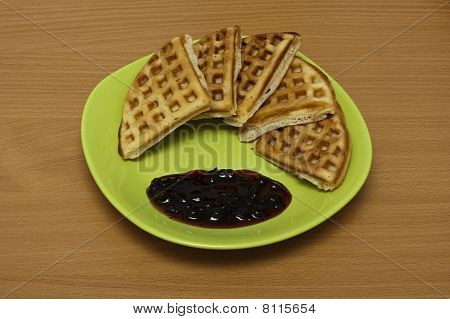 Waffles With Jam On A Plate