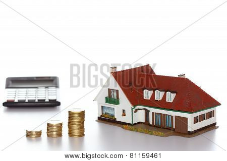 finance symbol with house and money coins poster