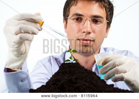 Scientist Man Working In Laboratory
