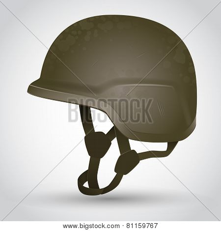 Camouflage Army helmet with scratches. Vector illustration poster