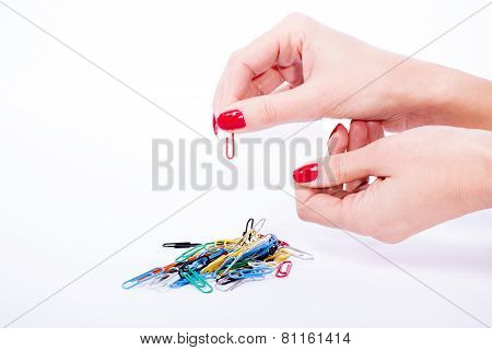 Woman Hand Holdind Paperclip