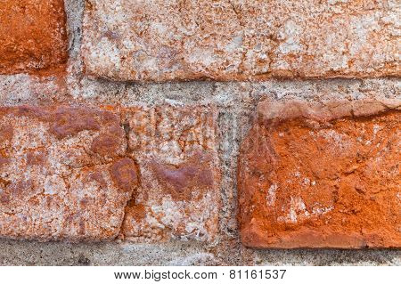 Textured Old Red Wall Of Brick With Traces Of Rubbing.