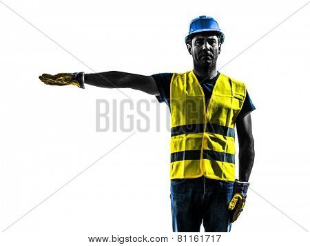 one construction worker signaling with safety vest silhouette isolated in white background poster