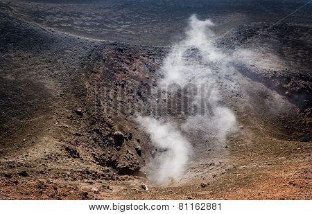 Etna volcano active crater