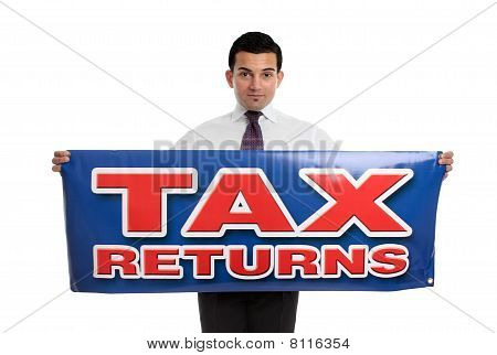 A businessman or accountant holding a tax returns sign. Or replace with your own message. White background. poster