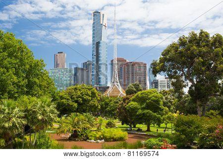 Melbourne Skyline Thru Queen Victoria Gardens