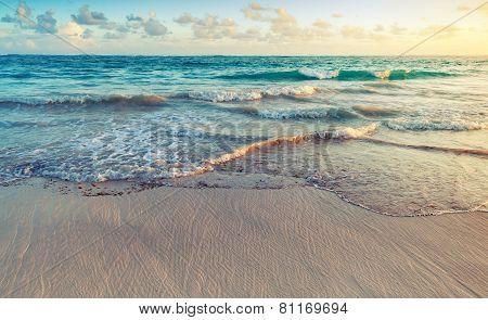 Colorful Sunrise Landscape On Atlantic Ocean Coast
