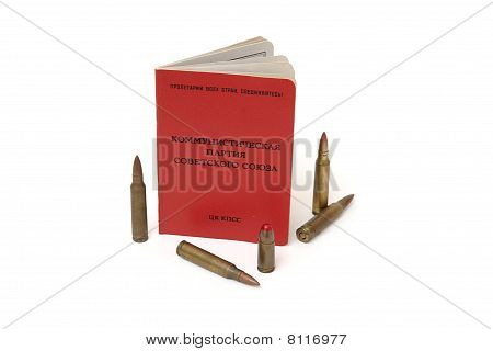 Soviet communist party membership card and cartridges