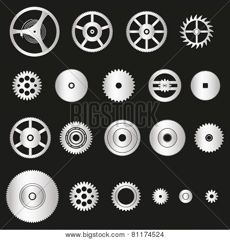 Various Silver Metal Cogwheels Parts Of Watch Movement Eps10