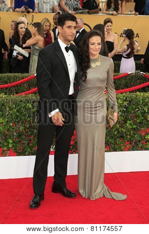 LOS ANGELES - JAN 25:  Raza Jaffrey, Lara Pulver at the 2015 Screen Actor Guild Awards at the Shrine Auditorium on January 25, 2015 in Los Angeles, CA