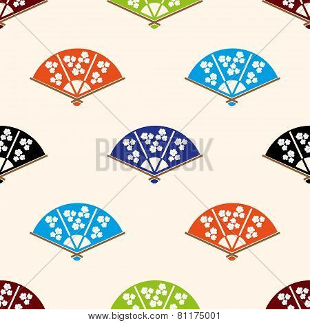 Asian Hand Fan Various Colors Set Seamless Pattern Eps10